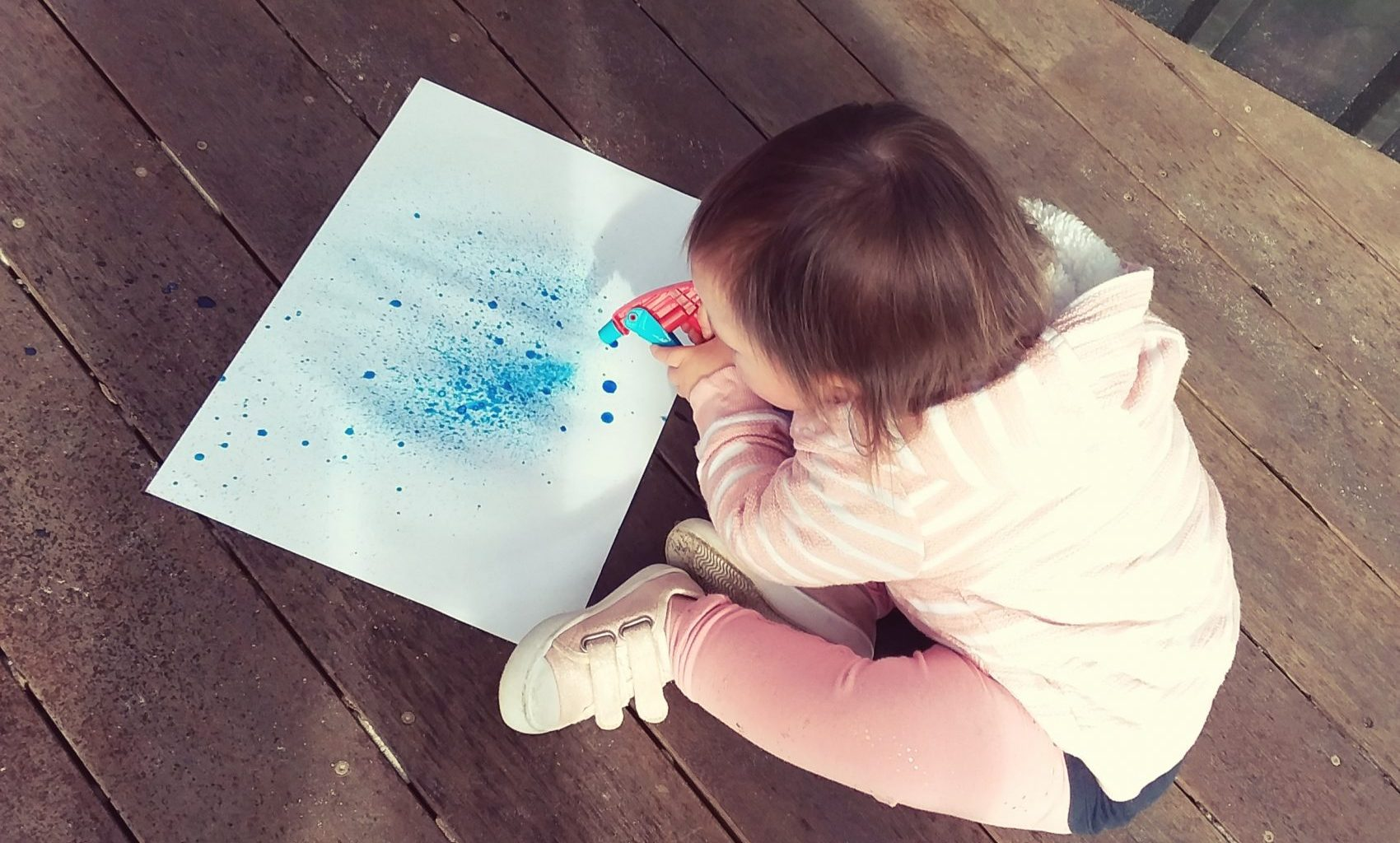 Spray Bottle Painting Outdoors
